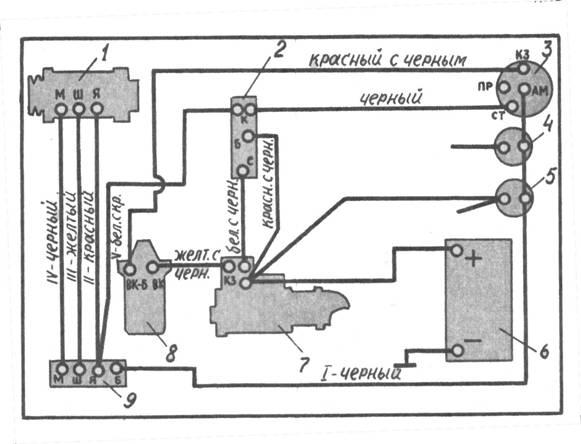 5 — амперметр; 6 — аккумулятор